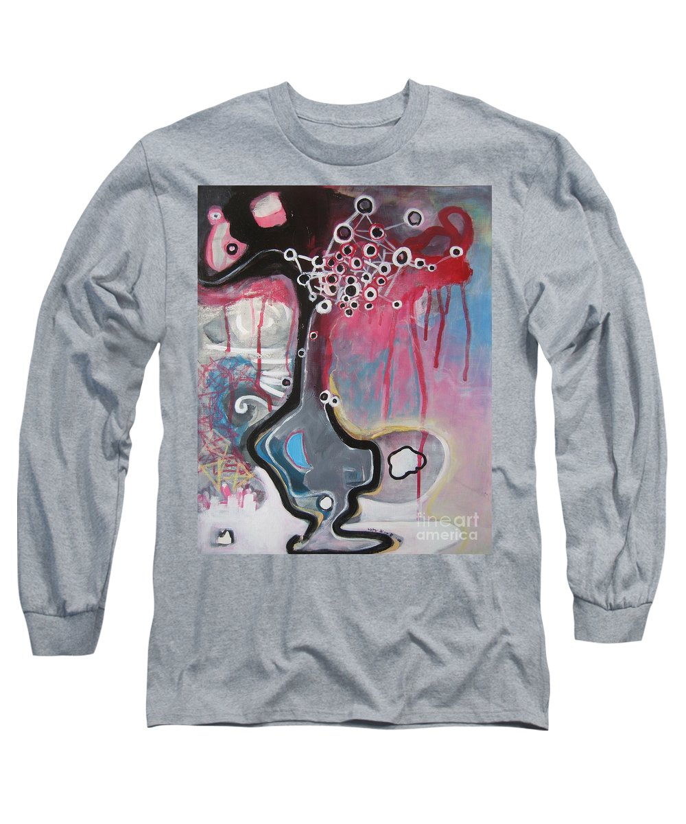 Abstract Paintings Long Sleeve T-Shirt featuring the painting Half Moon On Vase by Seon-Jeong Kim