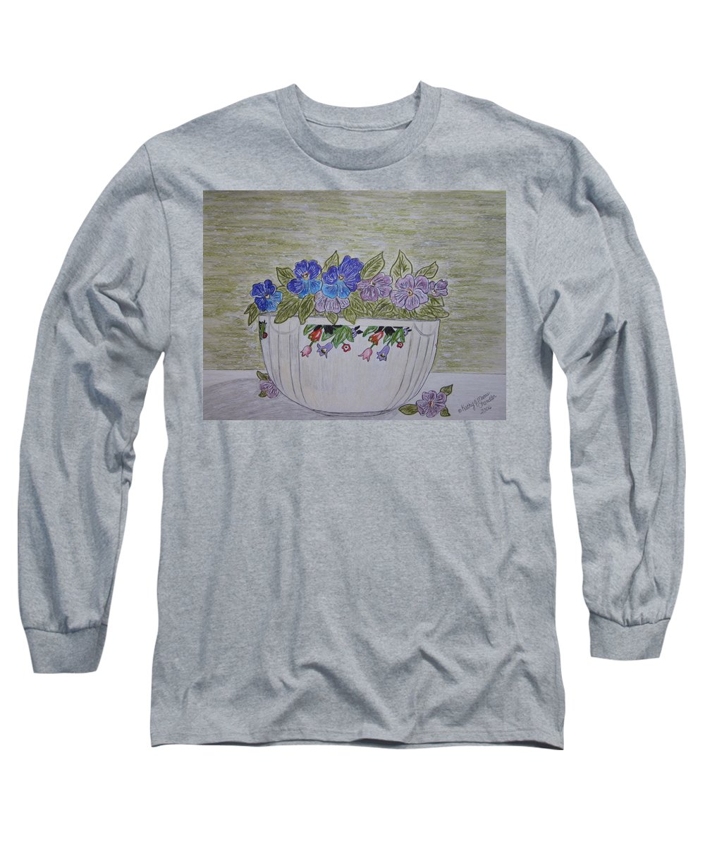 Hall China Long Sleeve T-Shirt featuring the painting Hall China Crocus Bowl With Violets by Kathy Marrs Chandler