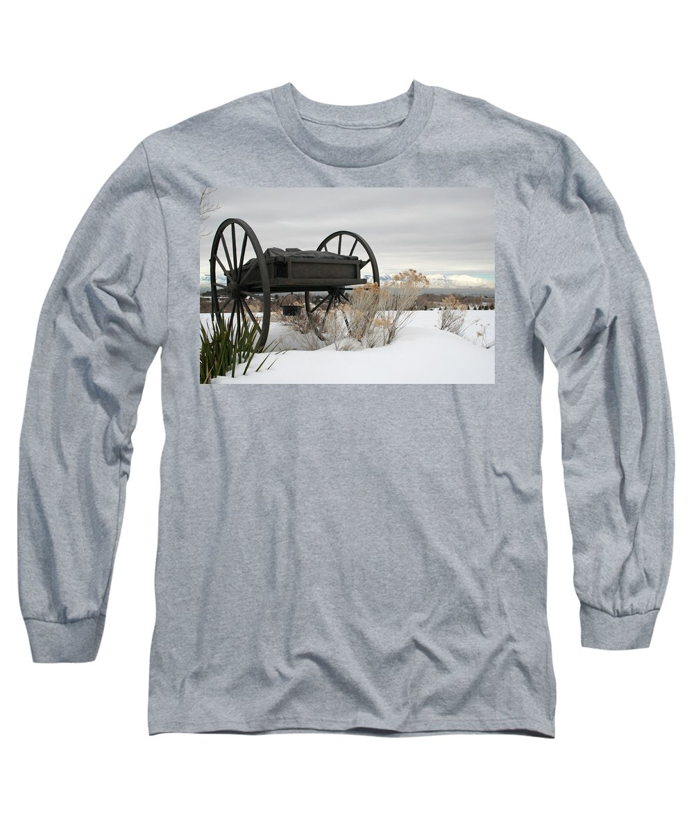 Handcart Long Sleeve T-Shirt featuring the photograph Handcart Monument by Margie Wildblood
