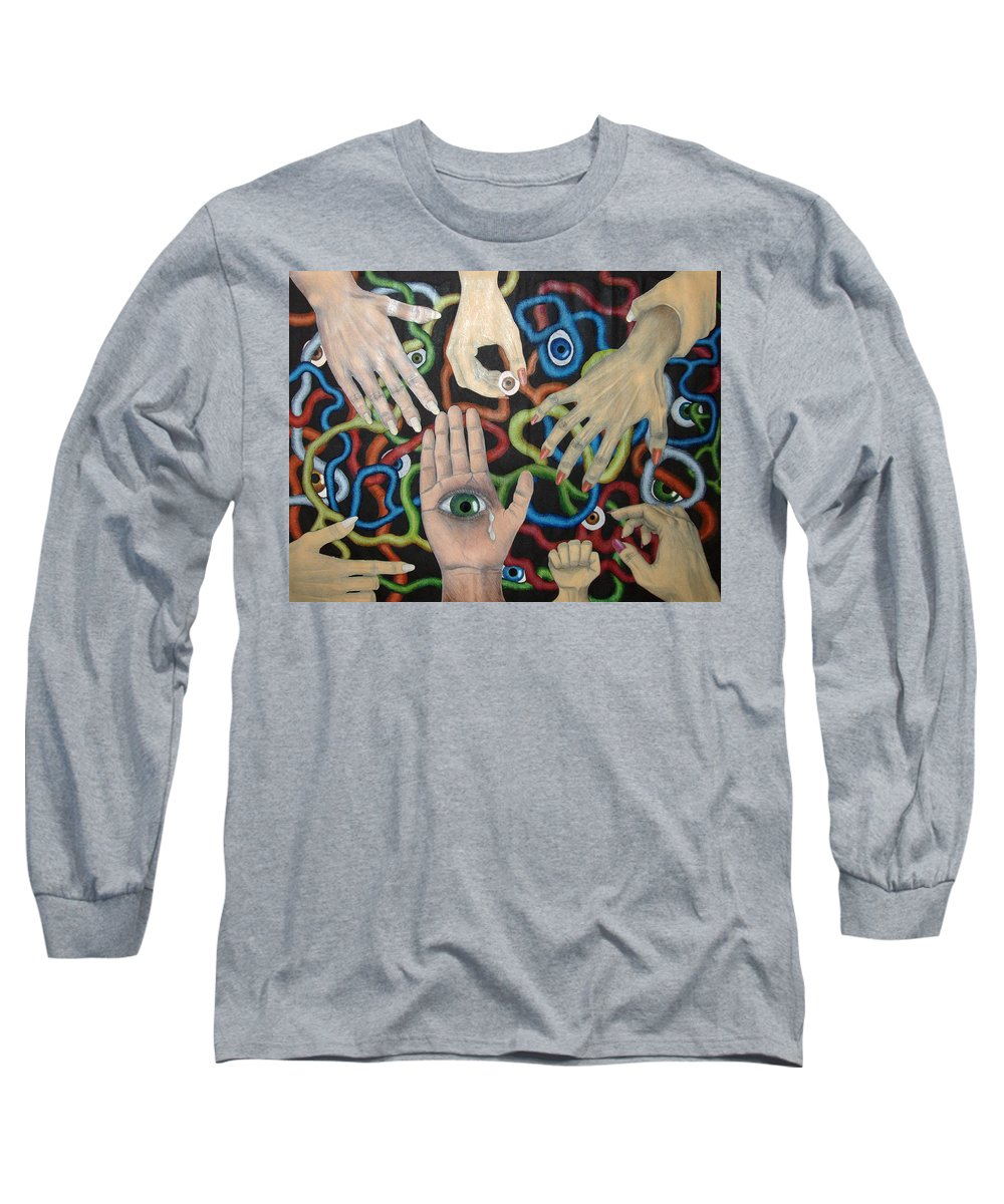 Collage Long Sleeve T-Shirt featuring the drawing Hands And Eyes by Nancy Mueller