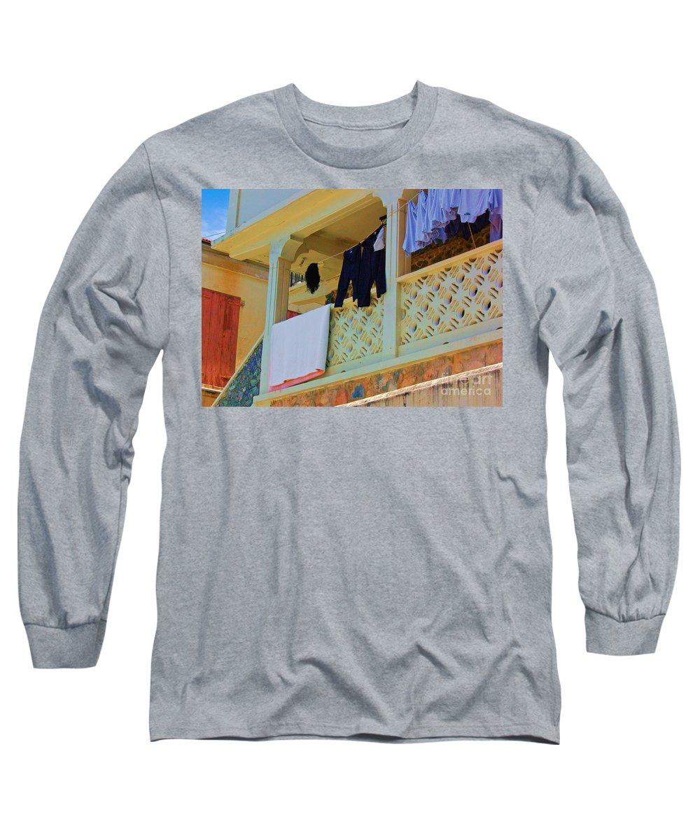 Laundry Long Sleeve T-Shirt featuring the photograph Hang Em High by Debbi Granruth
