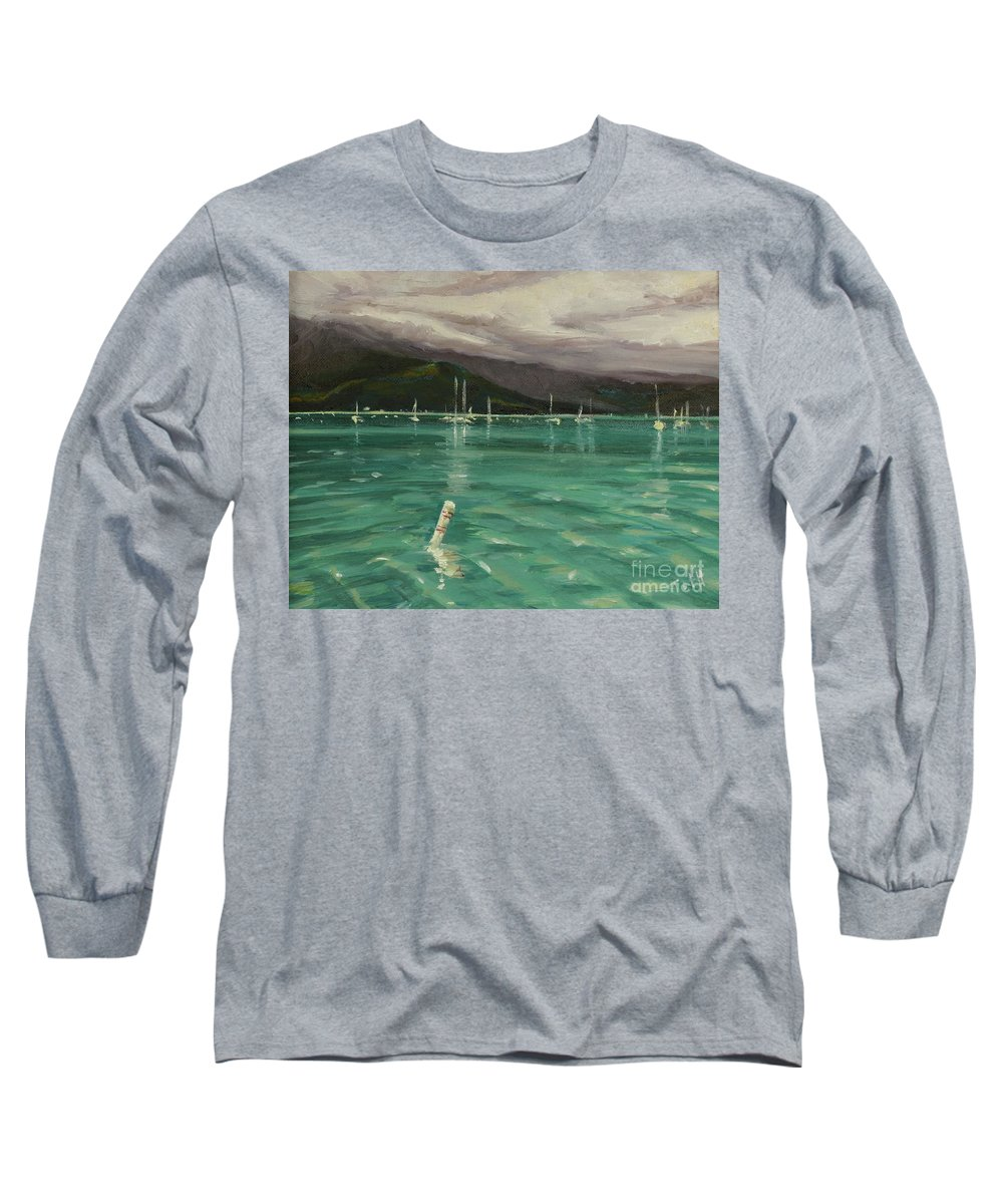 Hanalei Long Sleeve T-Shirt featuring the painting Harbor View by Laura Toth