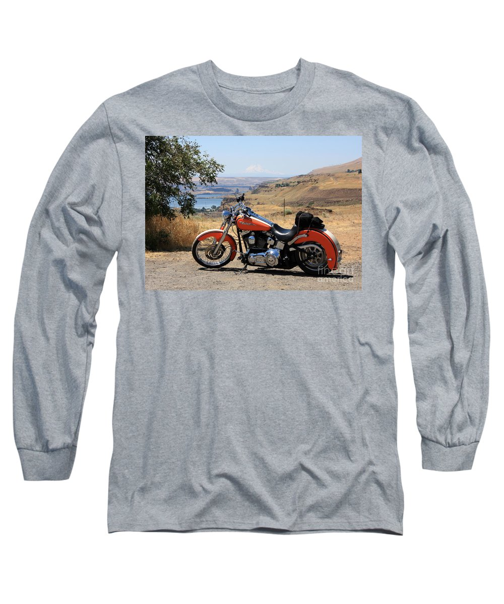 Washington State Long Sleeve T-Shirt featuring the photograph Harley With Columbia River And Mt Hood by Carol Groenen