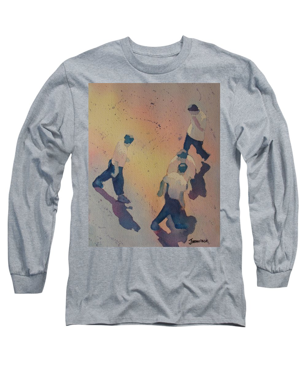 Men Long Sleeve T-Shirt featuring the painting High Noon At The Gravel Spit I by Jenny Armitage