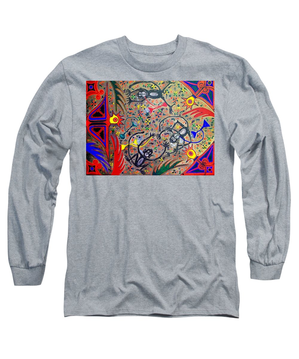 Contemporary Folk Art Long Sleeve T-Shirt featuring the painting Hookah Monkeys - Jinga Monkeys Series by Fareeha Khawaja