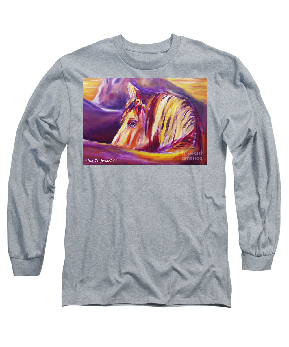 Horses Long Sleeve T-Shirt featuring the painting Horse World Detail by Gina De Gorna