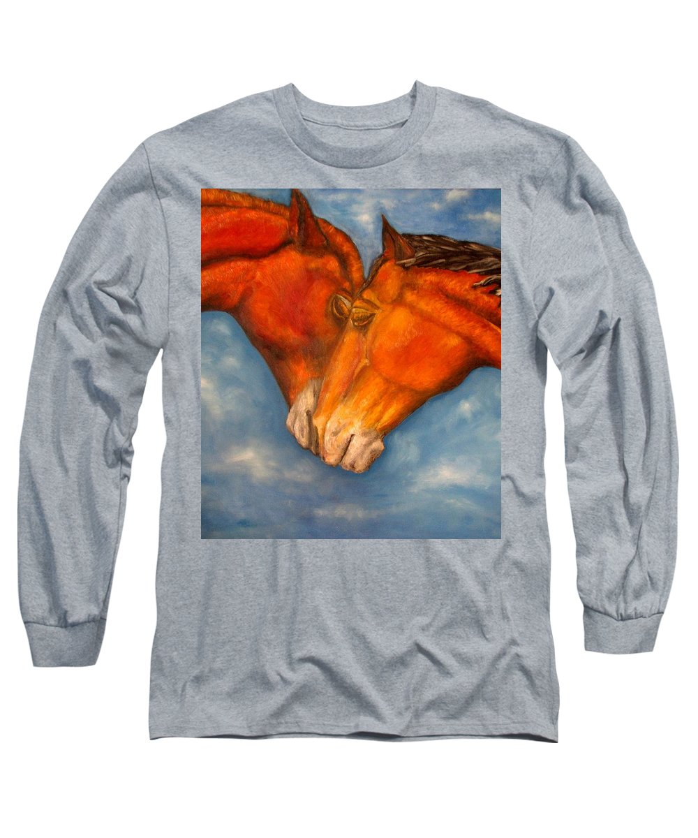 Horses Long Sleeve T-Shirt featuring the painting Horses In Love.oil Painting by Natalja Picugina