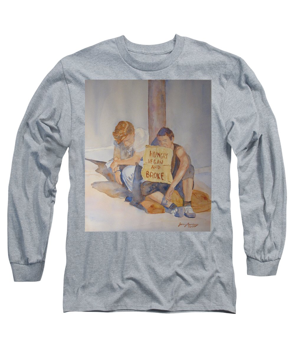 Humorous Long Sleeve T-Shirt featuring the painting Hungry Vegan And Broke by Jenny Armitage