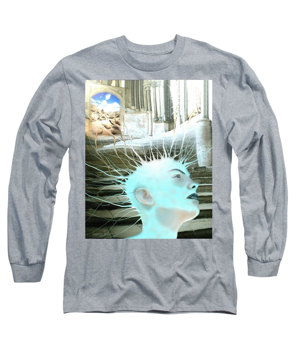 Thoughts Stairs Energy Space Long Sleeve T-Shirt featuring the digital art I by Veronica Jackson