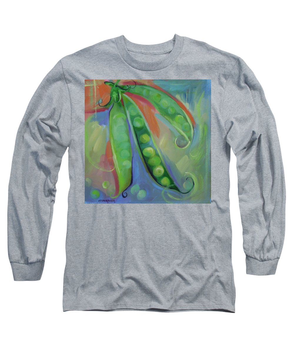 Peas Long Sleeve T-Shirt featuring the painting I Wish You Peas by Ginger Concepcion