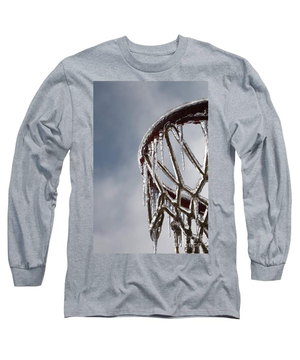 Basketball Long Sleeve T-Shirt featuring the photograph Icy Hoops by Nadine Rippelmeyer