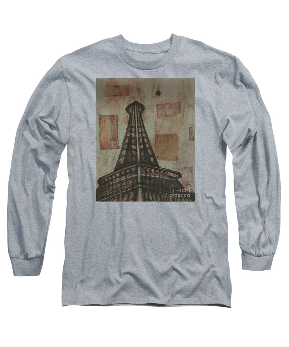 Structures Long Sleeve T-Shirt featuring the painting Iffel Tower by Sidra Myers