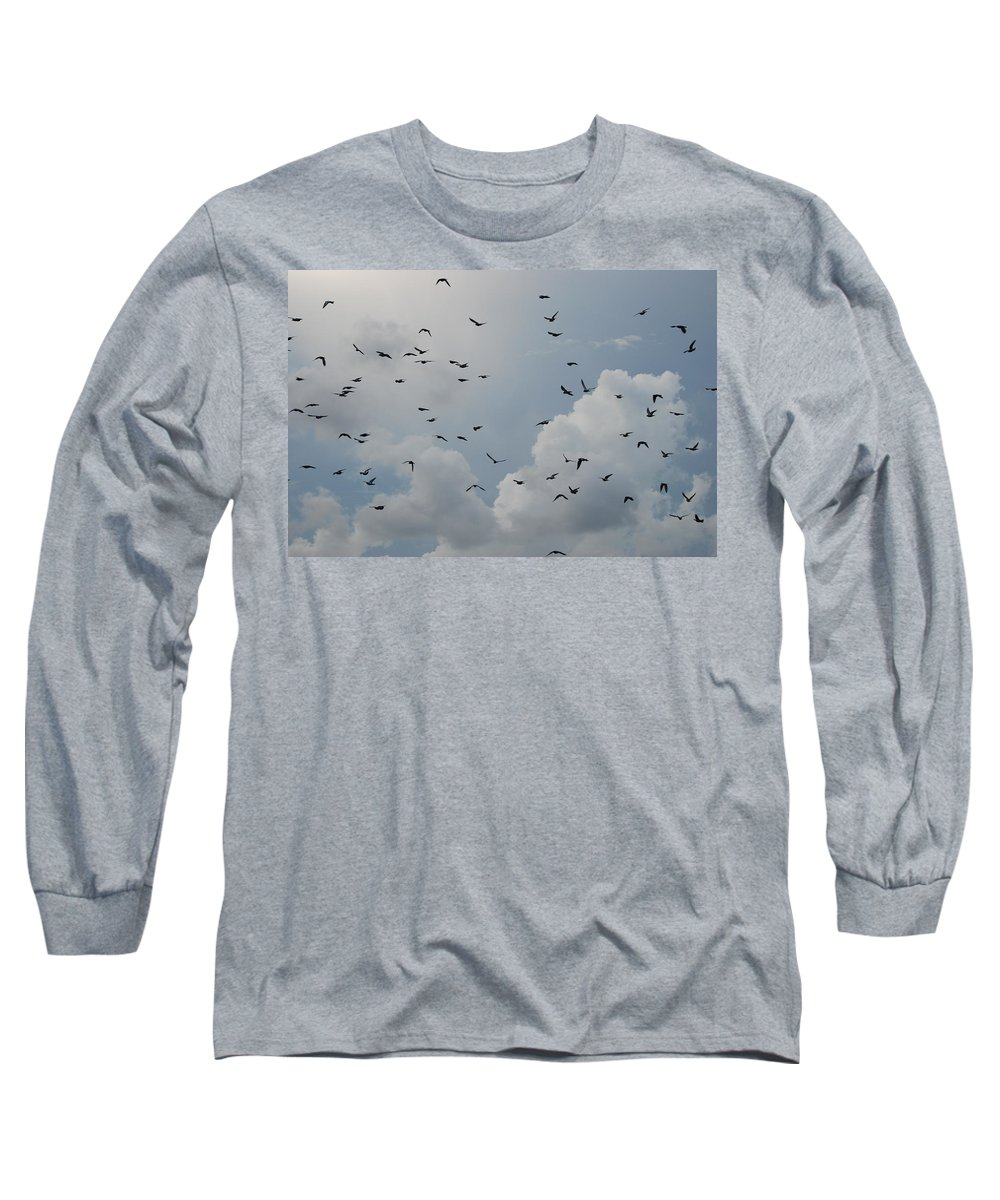 Birds Long Sleeve T-Shirt featuring the photograph In Flight by Rob Hans