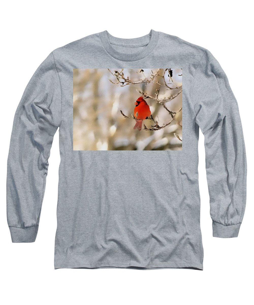 Cardinal Long Sleeve T-Shirt featuring the photograph In Red by Gaby Swanson
