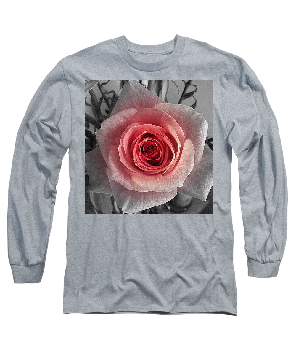 Rose Red Blackandwhite Long Sleeve T-Shirt featuring the photograph In The Center by Luciana Seymour