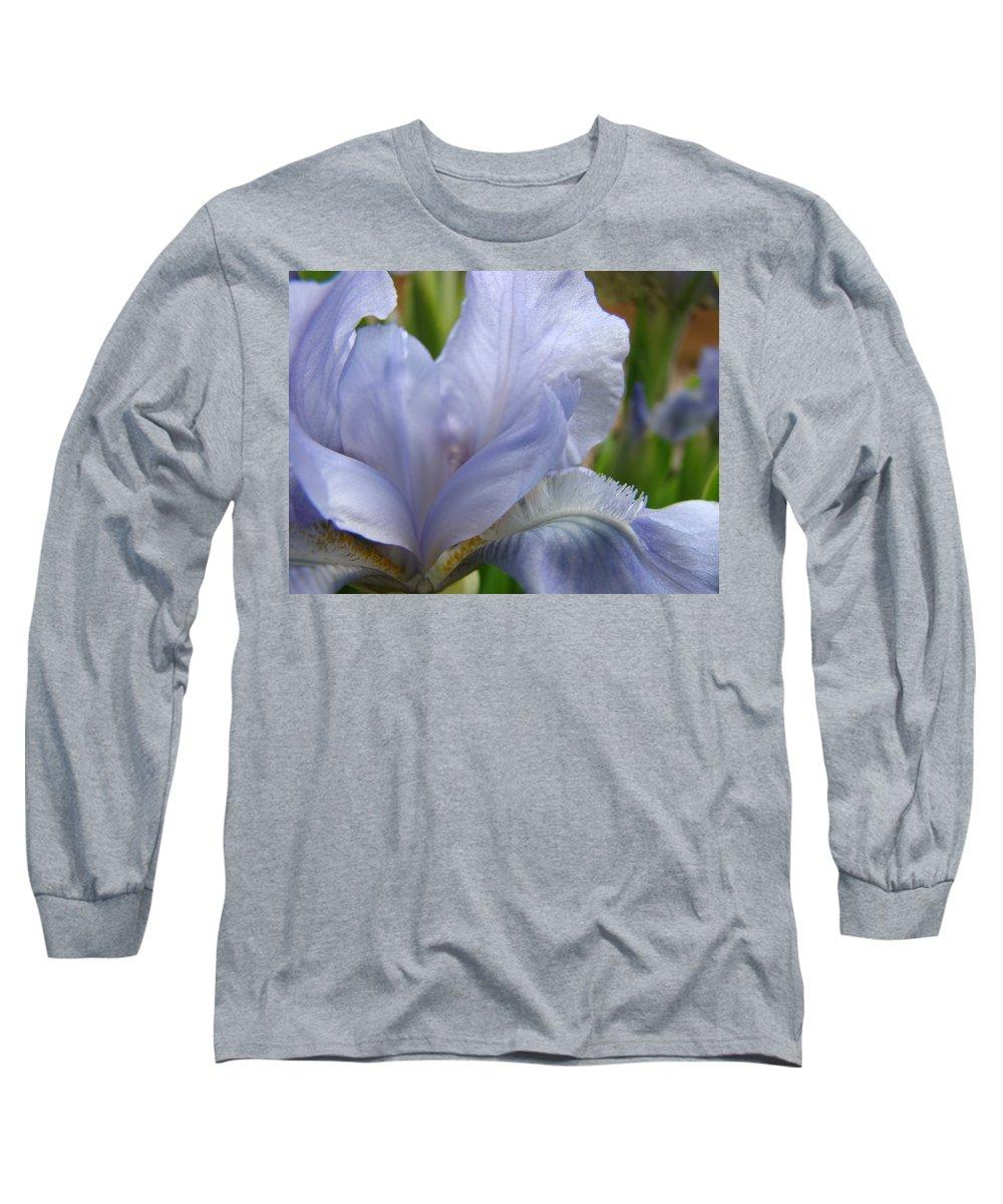 �irises Artwork� Long Sleeve T-Shirt featuring the photograph Iris Flower Blue 2 Irises Botanical Garden Art Prints Baslee Troutman by Baslee Troutman