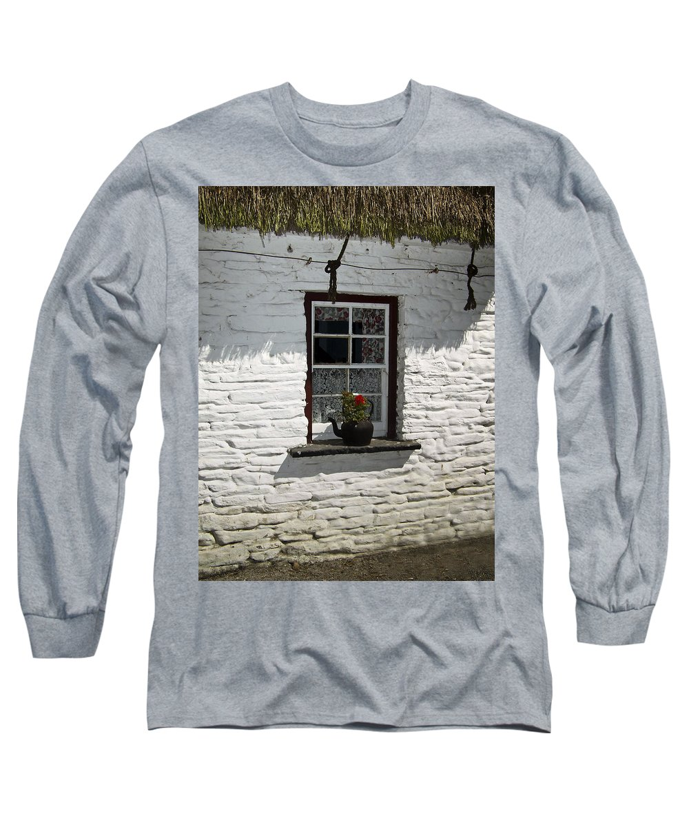 Irish Long Sleeve T-Shirt featuring the photograph Irish Kettle Of Geraniums County Cork Ireland by Teresa Mucha