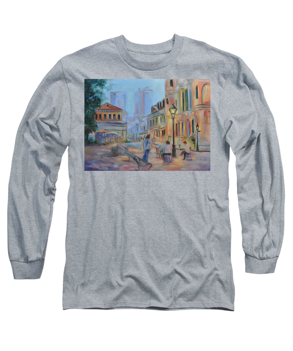 New Orleans Long Sleeve T-Shirt featuring the painting Jackson Square Musicians by Ginger Concepcion