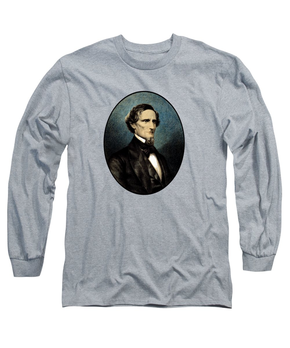 Jefferson Davis Long Sleeve T-Shirt featuring the painting Jefferson Davis by War Is Hell Store