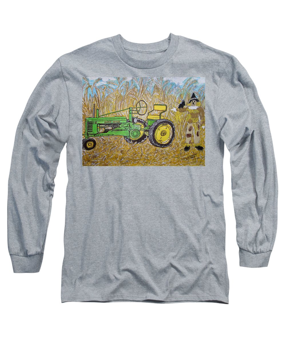 John Deere Long Sleeve T-Shirt featuring the painting John Deere Tractor And The Scarecrow by Kathy Marrs Chandler