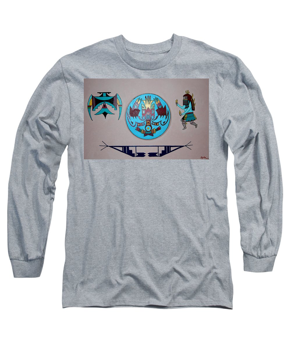 Native American Art Long Sleeve T-Shirt featuring the painting Kachina Dance by Marco Morales