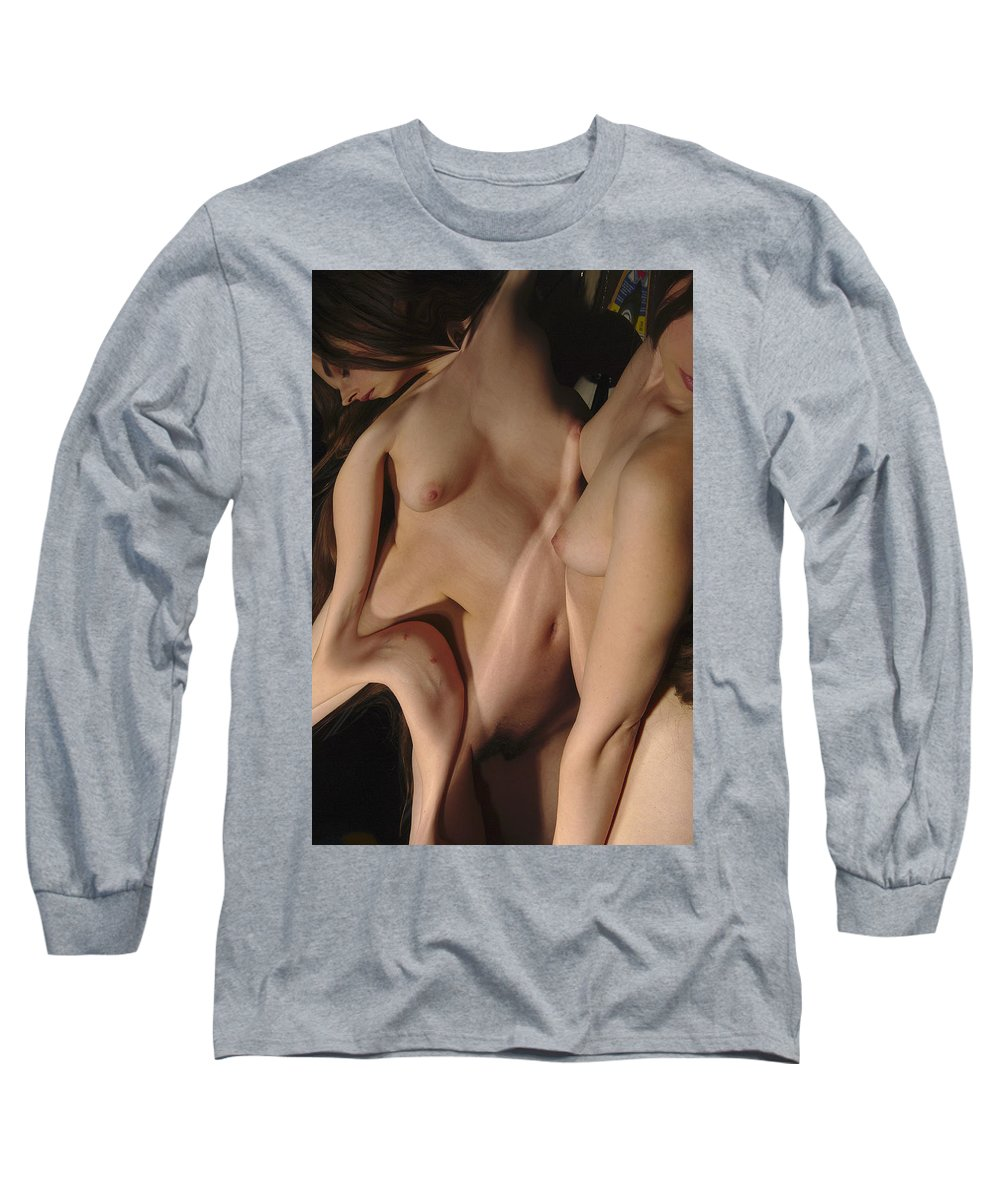 Female Nude Abstract Mirrors Flowers Long Sleeve T-Shirt featuring the photograph Kazi0830 by Henry Butz