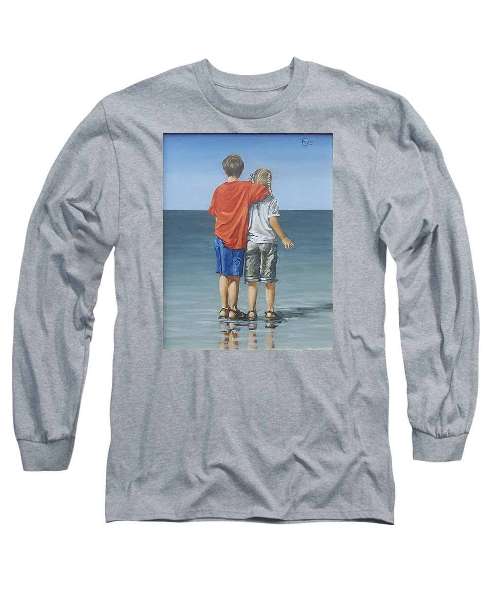 Kids Long Sleeve T-Shirt featuring the painting Kids by Natalia Tejera