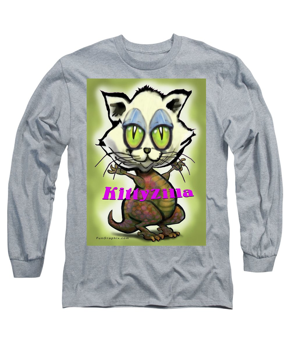 Kittyzilla Long Sleeve T-Shirt featuring the greeting card Kittyzilla by Kevin Middleton