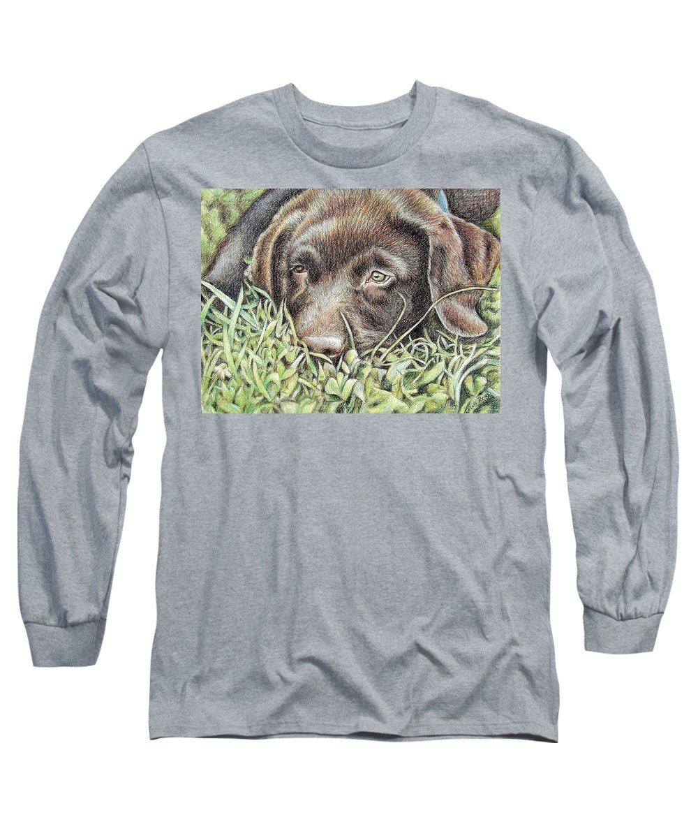 Dog Long Sleeve T-Shirt featuring the pastel Labrador Puppy by Nicole Zeug