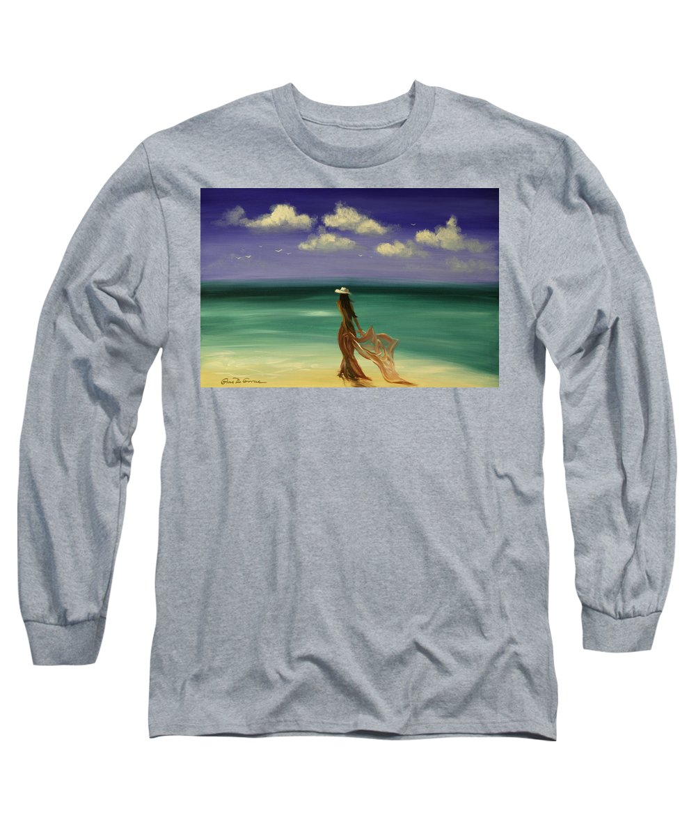 Nice Long Sleeve T-Shirt featuring the painting Lady In Red by Gina De Gorna