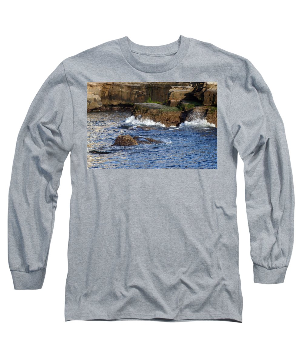 Ocean Long Sleeve T-Shirt featuring the photograph Lajolla Rocks by Margie Wildblood