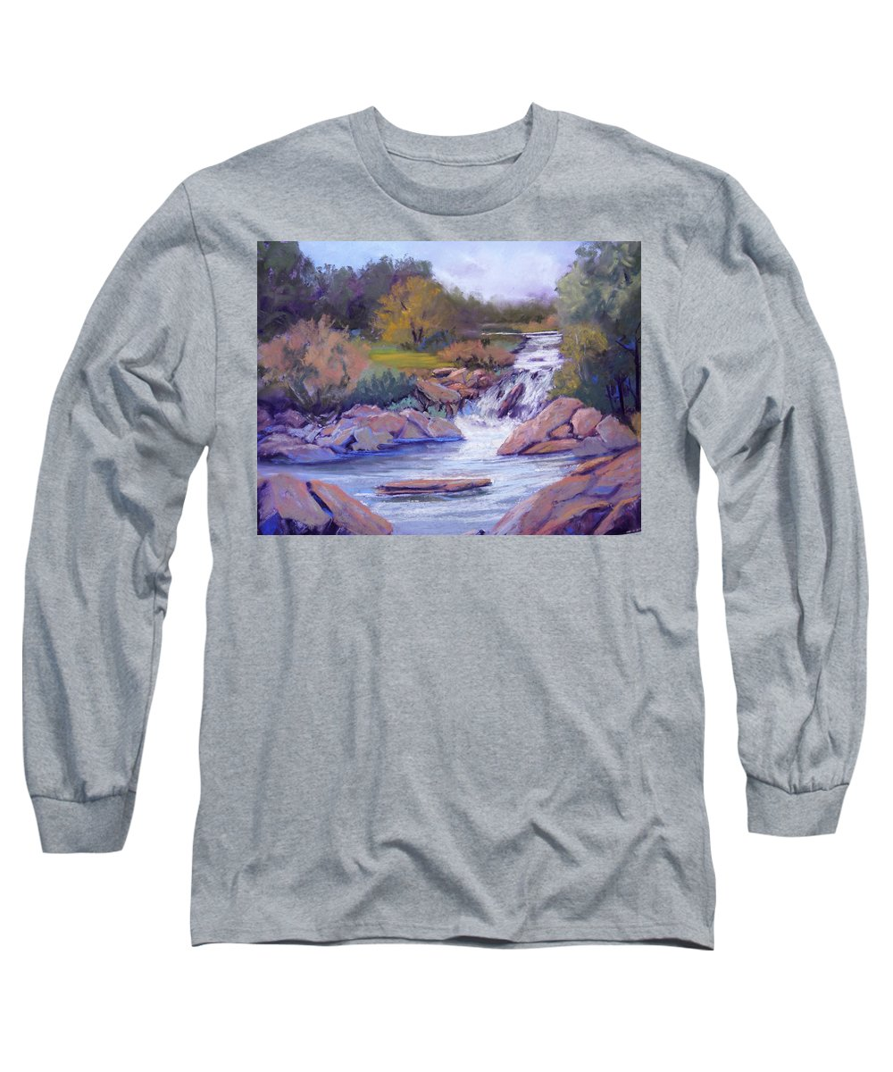 Pastel Long Sleeve T-Shirt featuring the painting Larsen Falls by Heather Coen