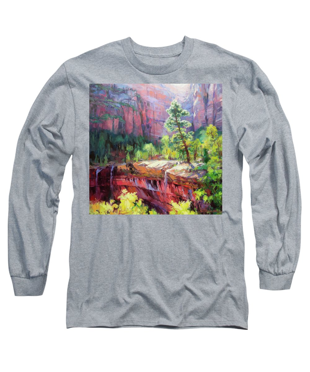 Zion Long Sleeve T-Shirt featuring the painting Last Light In Zion by Steve Henderson