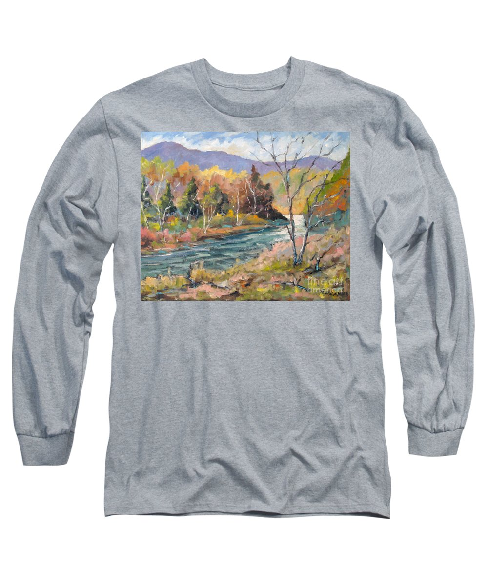 Landscape Long Sleeve T-Shirt featuring the painting Laurentian Hills by Richard T Pranke