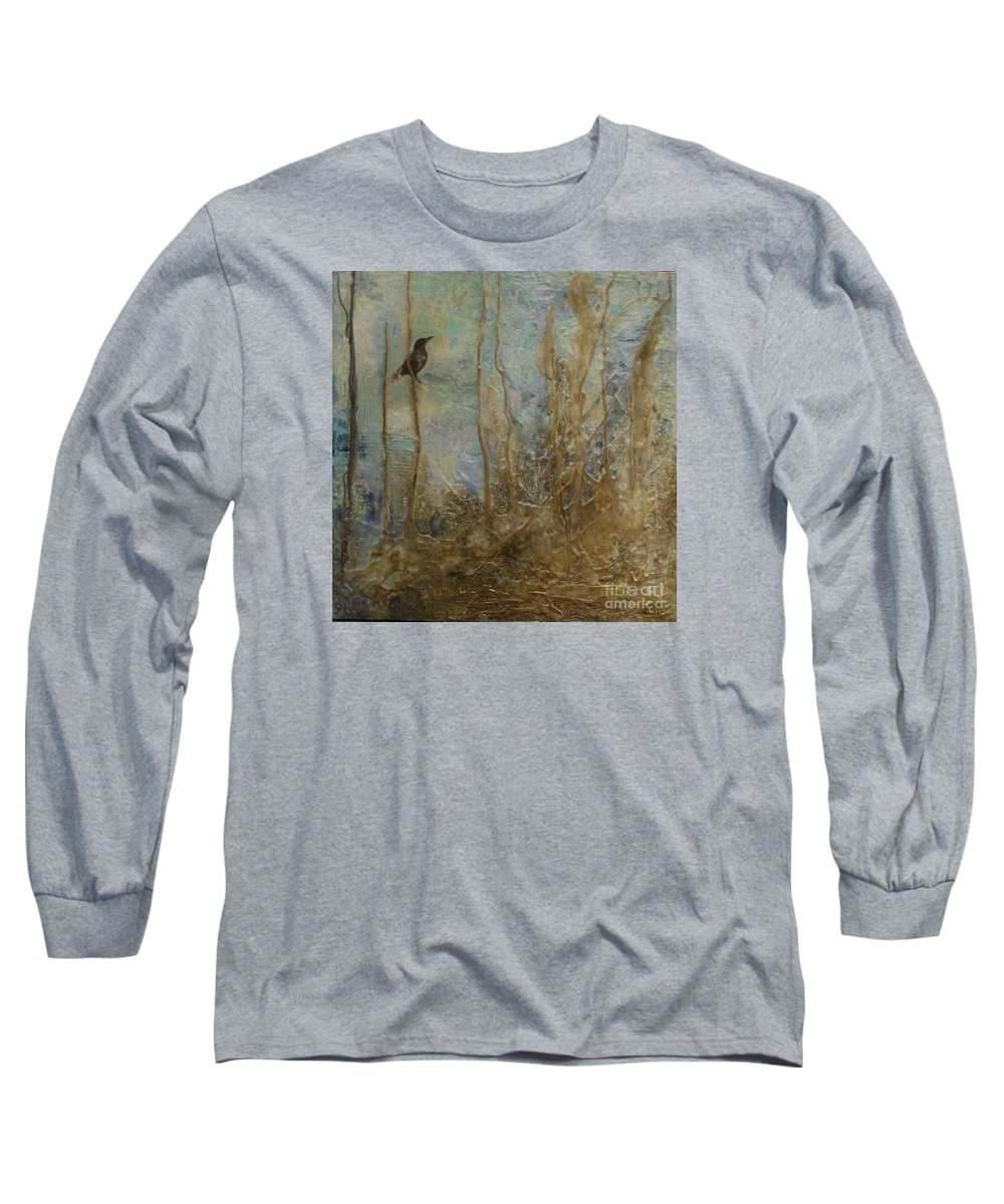 Bird Long Sleeve T-Shirt featuring the painting Lawbird by Heather Hennick