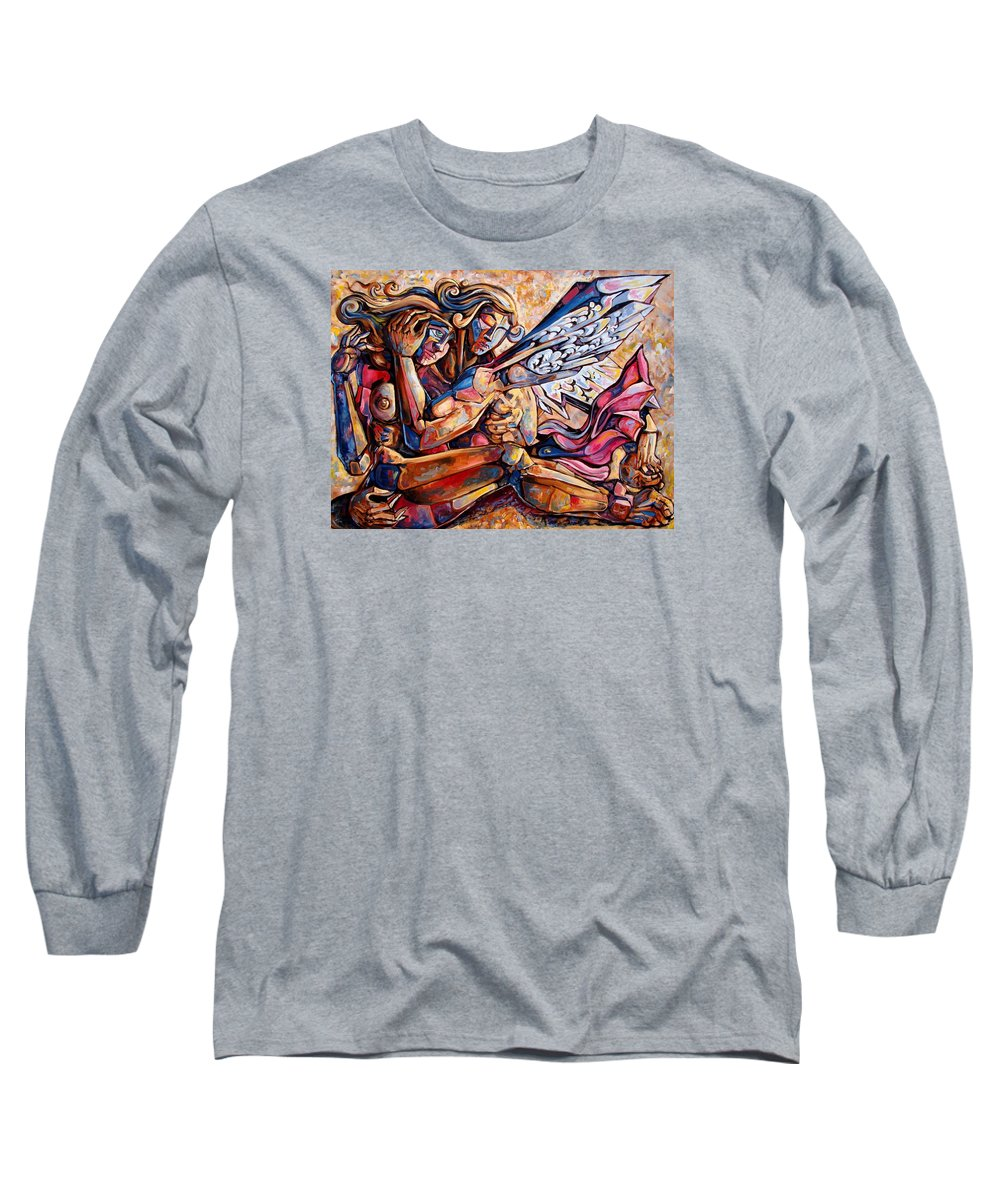 Surrealism Long Sleeve T-Shirt featuring the painting Lean On Me by Darwin Leon