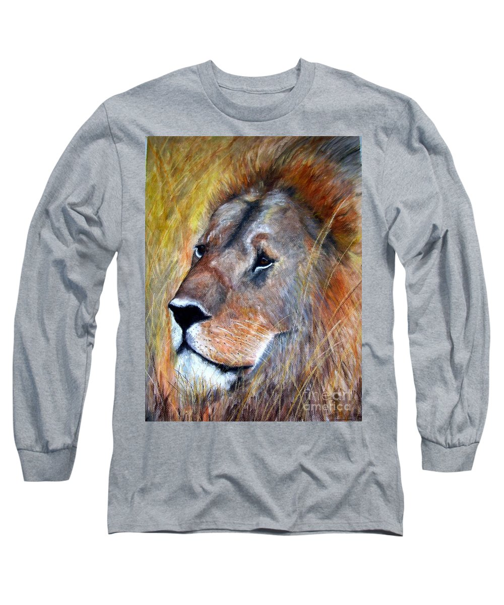 Lion Long Sleeve T-Shirt featuring the painting leo by Frances Marino