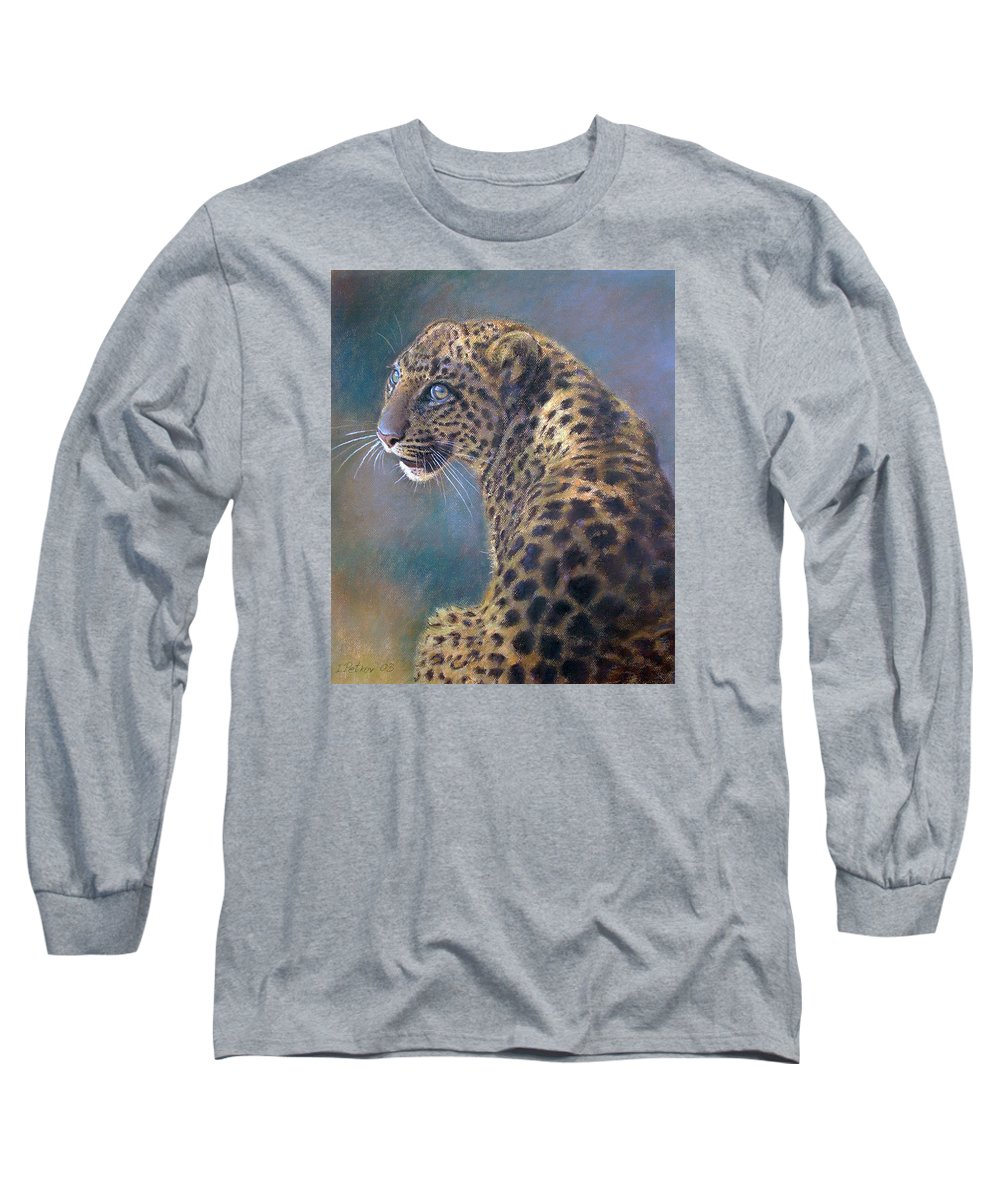 Cats Long Sleeve T-Shirt featuring the painting Leopard by Iliyan Bozhanov