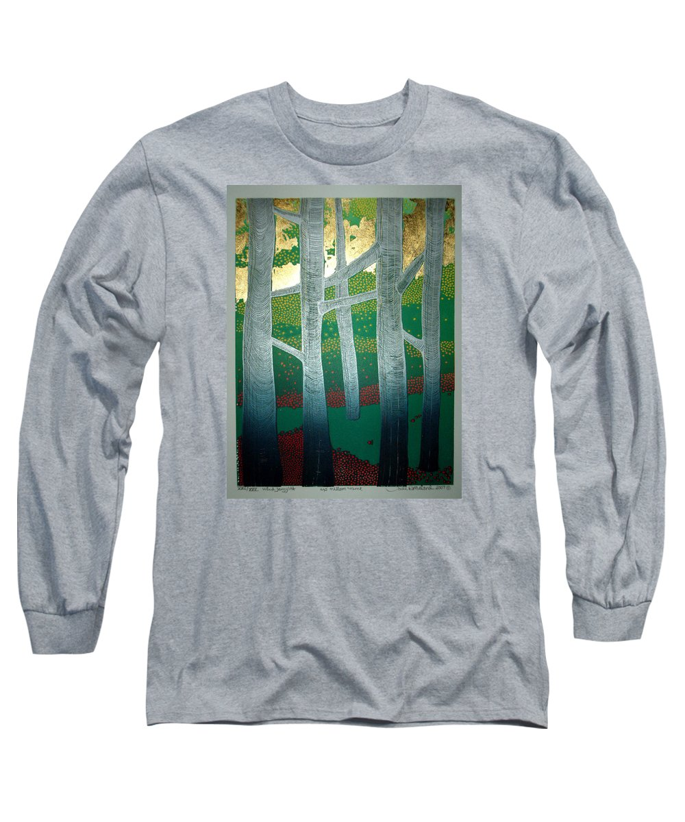 Landscape Long Sleeve T-Shirt featuring the mixed media Light Between The Trees by Jarle Rosseland