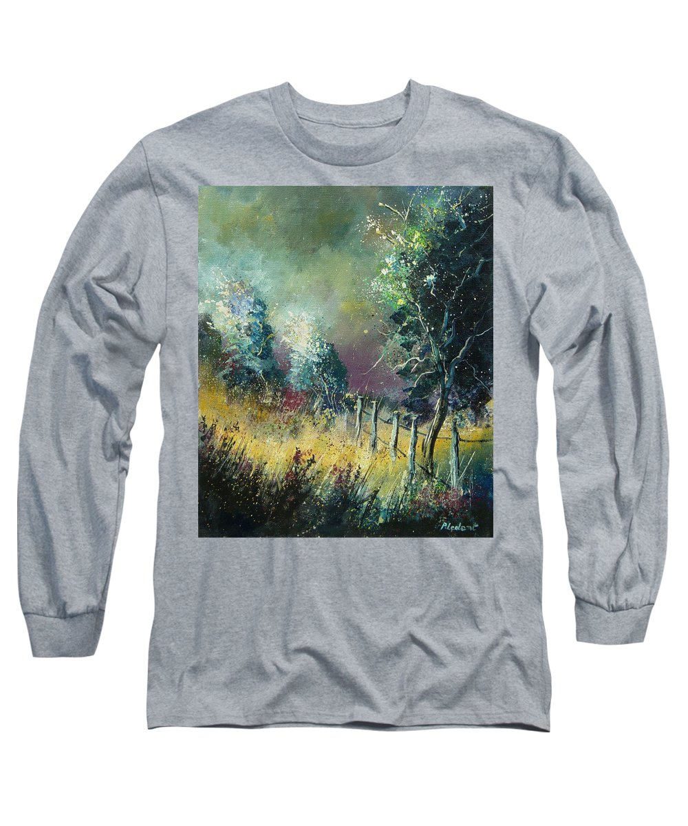 Landscape Long Sleeve T-Shirt featuring the painting Light On Trees by Pol Ledent