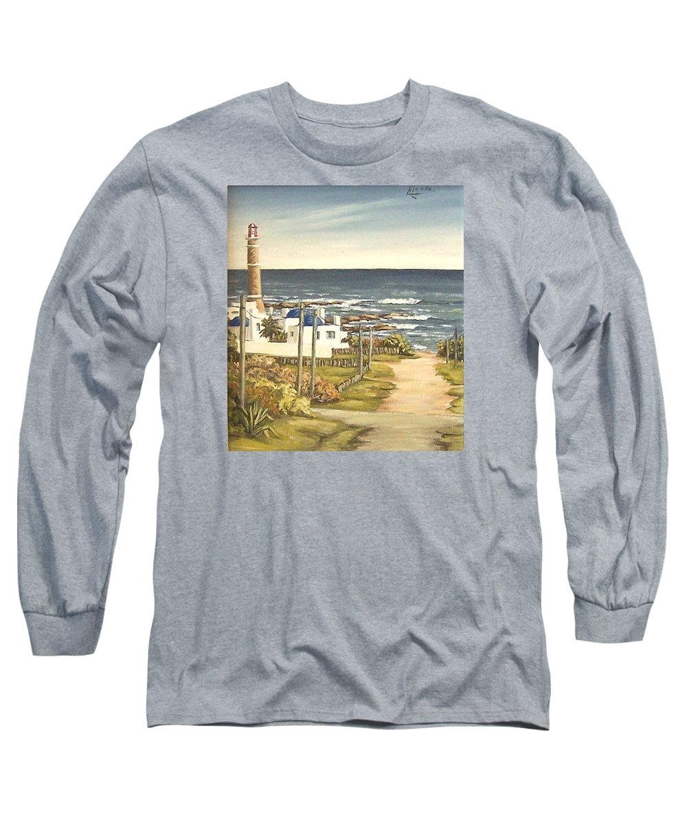 Lighthouse Seascape Sea Water Uruguay Long Sleeve T-Shirt featuring the painting Lighthouse Uruguay by Natalia Tejera