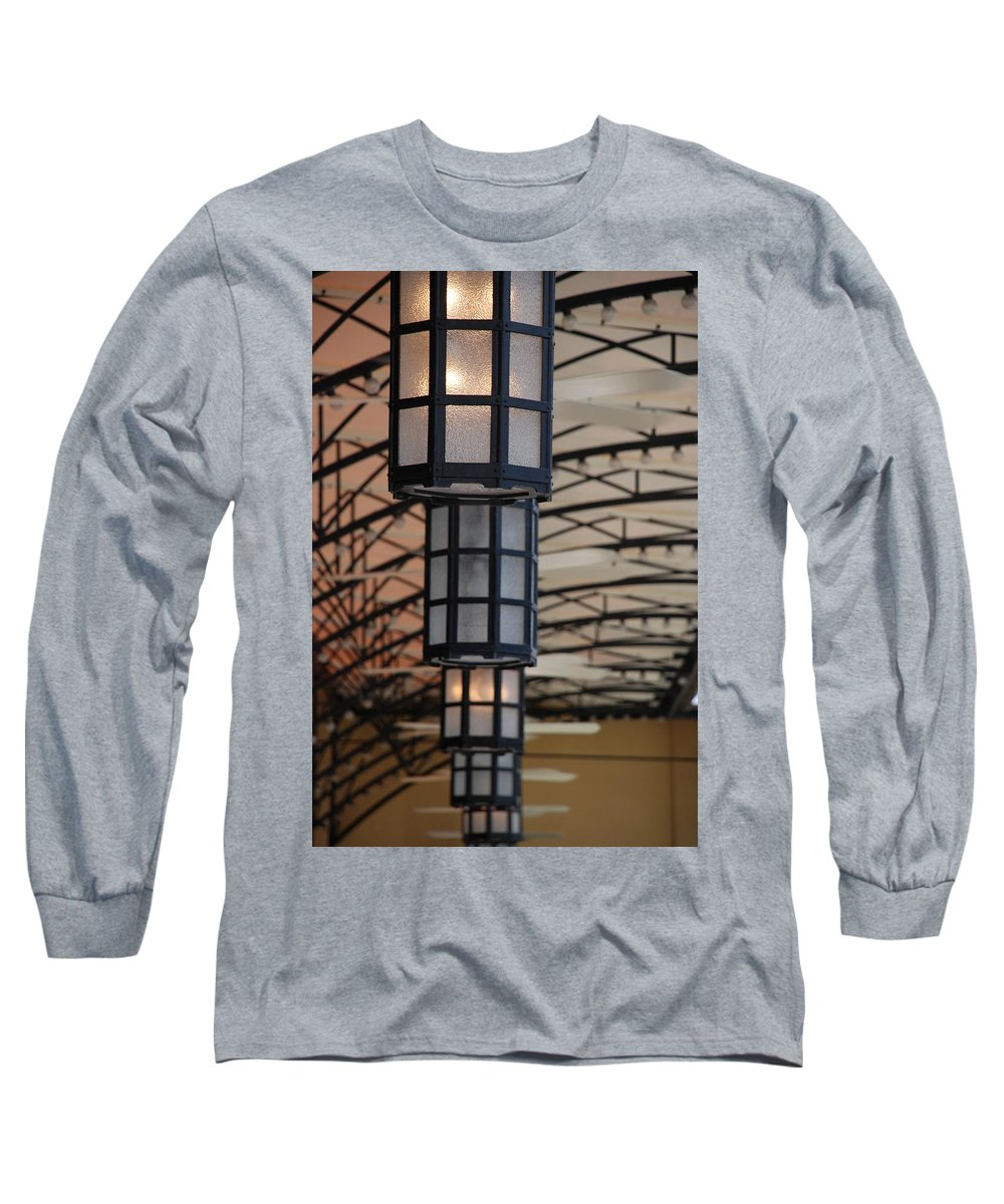 Architecture Long Sleeve T-Shirt featuring the photograph Lights At City Place by Rob Hans