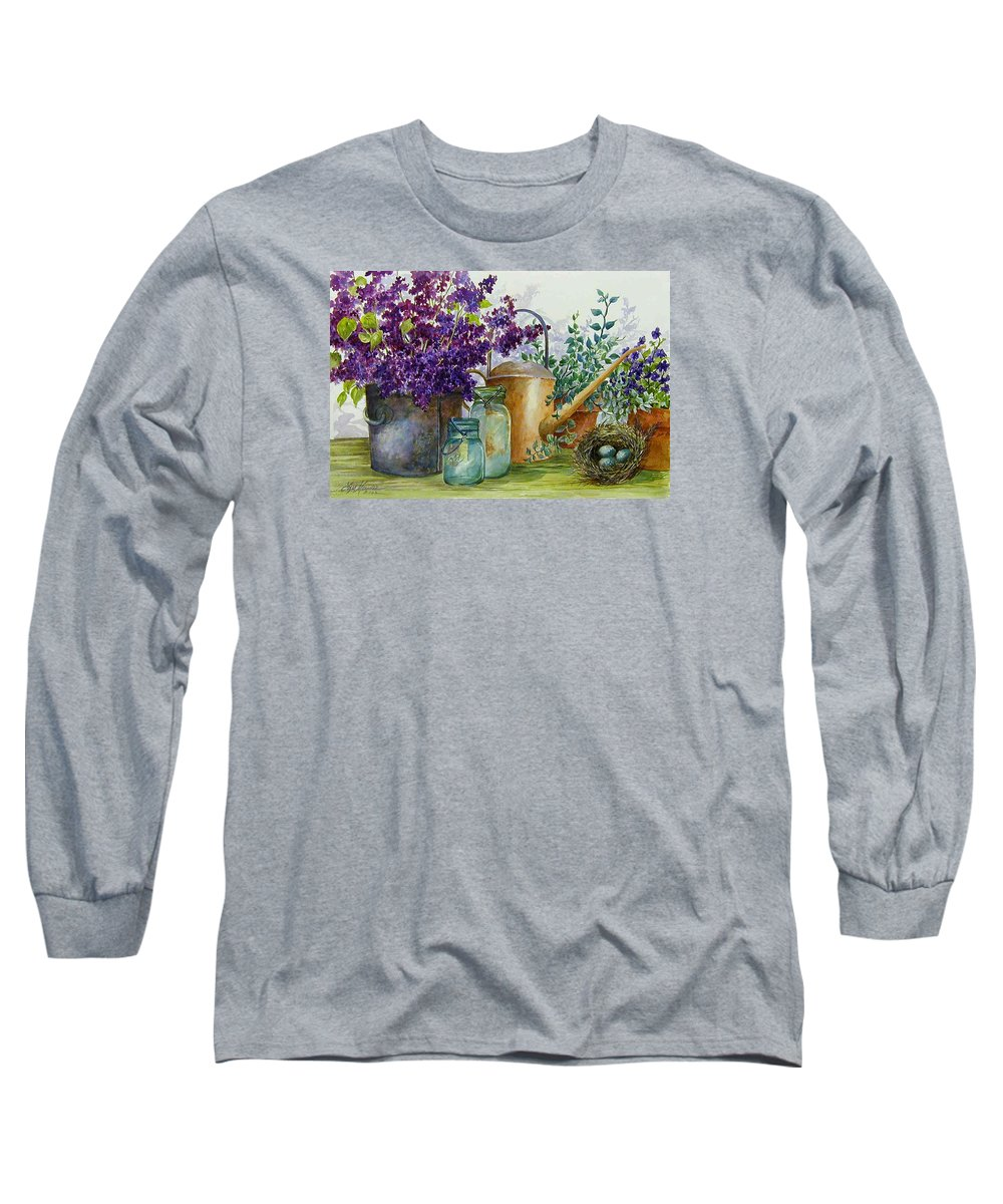 Still Life;lilacs; Ball Jars; Watering Can;bird Nest; Bird Eggs; Long Sleeve T-Shirt featuring the painting Lilacs And Ball Jars by Lois Mountz