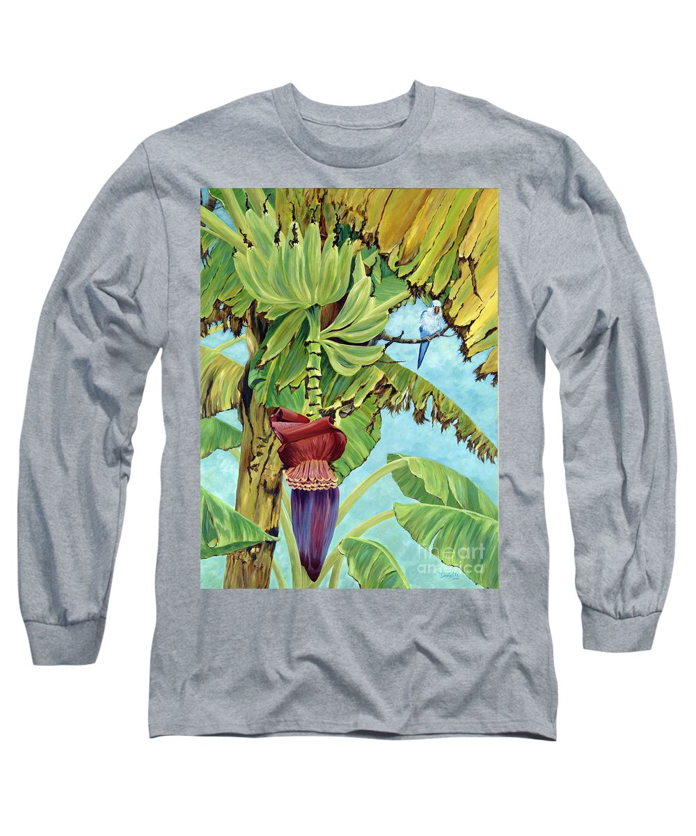 Tropical Long Sleeve T-Shirt featuring the painting Little Blue Quaker by Danielle Perry