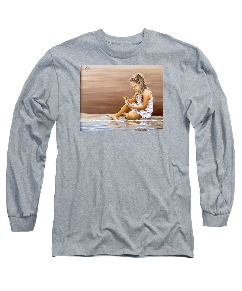 Children Girl Sea Shell Seascape Water Portrait Figurative Long Sleeve T-Shirt featuring the painting Little Girl With Sea Shell by Natalia Tejera