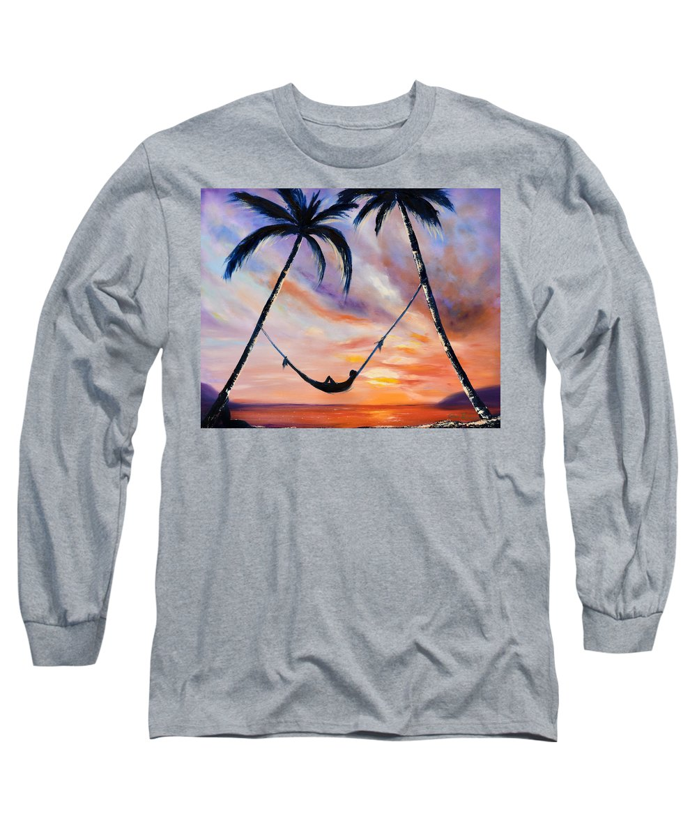 Sunset Long Sleeve T-Shirt featuring the painting Living The Dream by Gina De Gorna