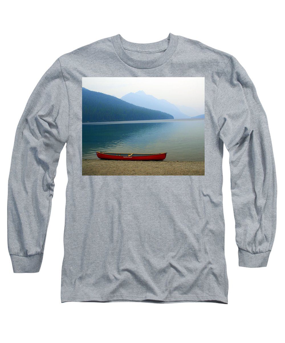 Glacier National Park Long Sleeve T-Shirt featuring the photograph Lonly Canoe by Marty Koch