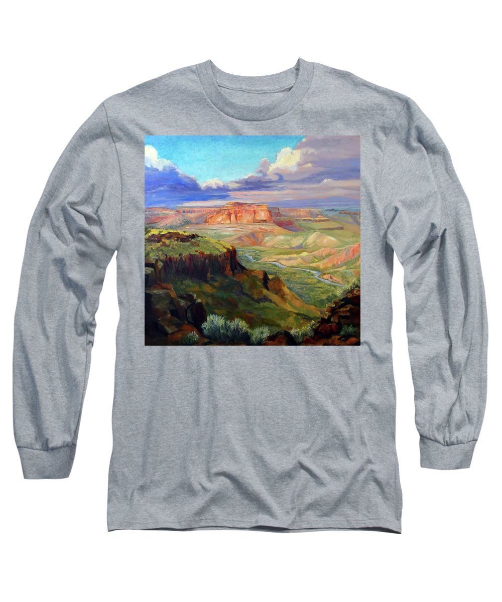 Landscape Long Sleeve T-Shirt featuring the painting Look Out At White Rock by Nancy Paris Pruden