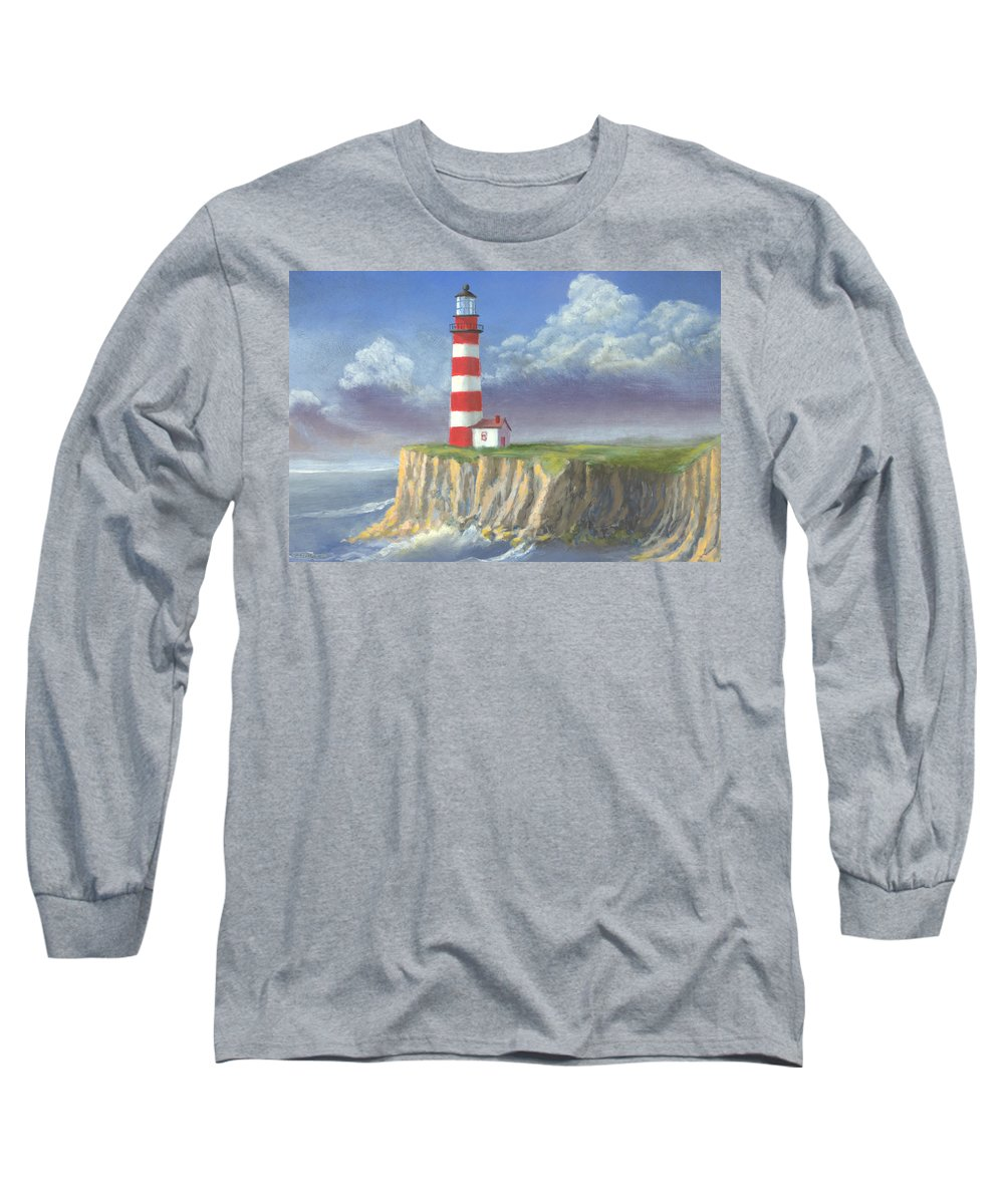 Light Long Sleeve T-Shirt featuring the painting Lost Point Light by Jerry McElroy