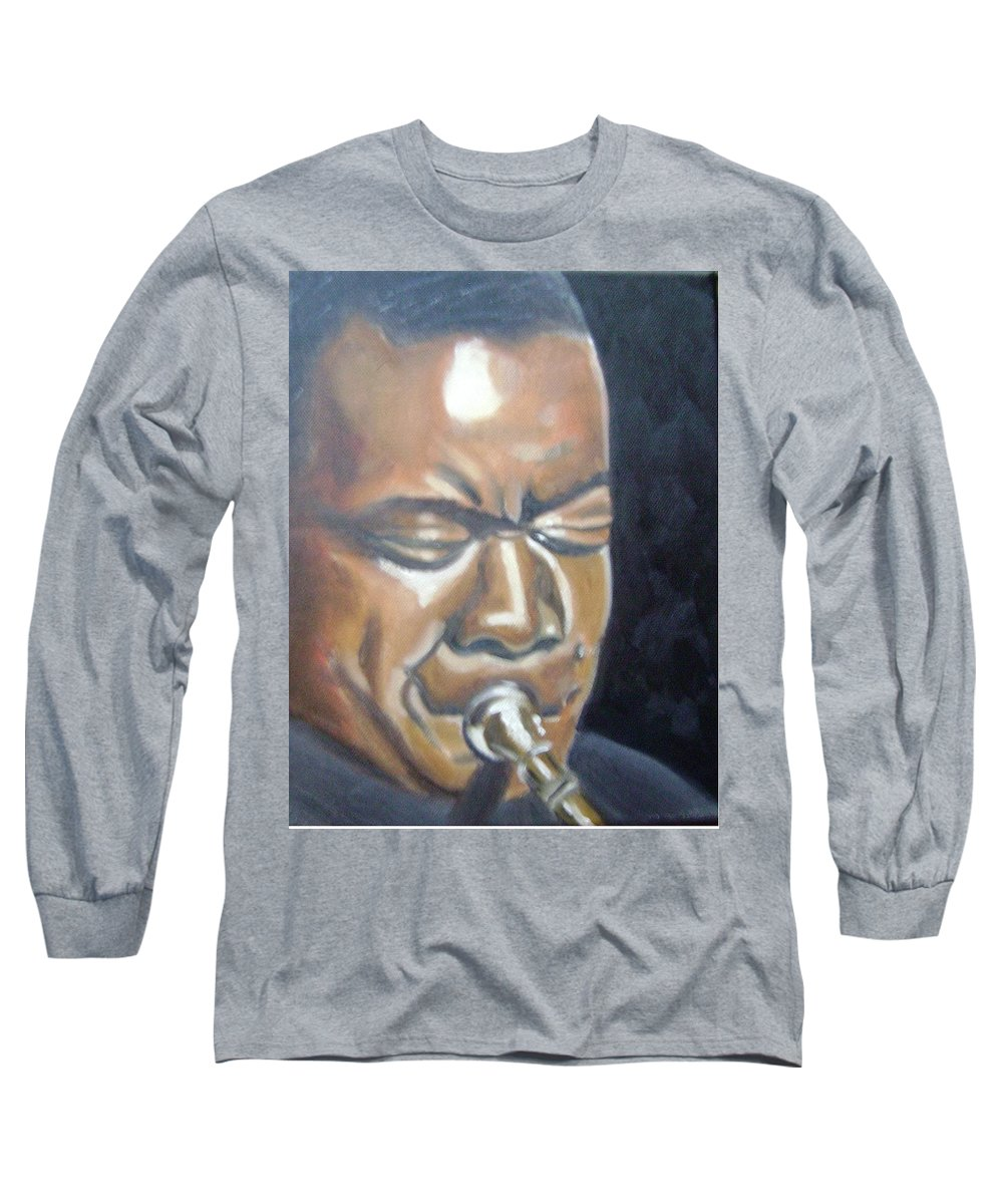 Louis Armstrong Long Sleeve T-Shirt featuring the painting Louis Armstrong by Toni Berry